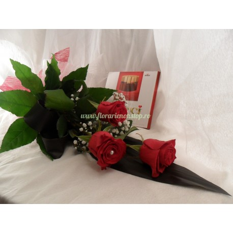 3 trandafiri si ciocolata Merci cadou