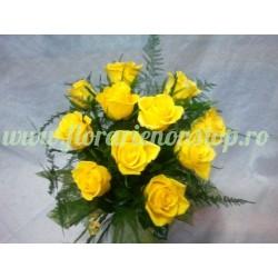 Buchet de flori - 11 trandafiri galbeni