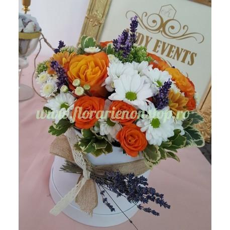 Cutie flori orange lavanda