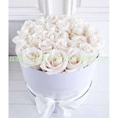 Cutie 21 trandafiri albi