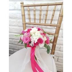 Buchet de mireasa alb cu roz fucsia