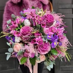 Buchet cu flori mov și roz Flower Power