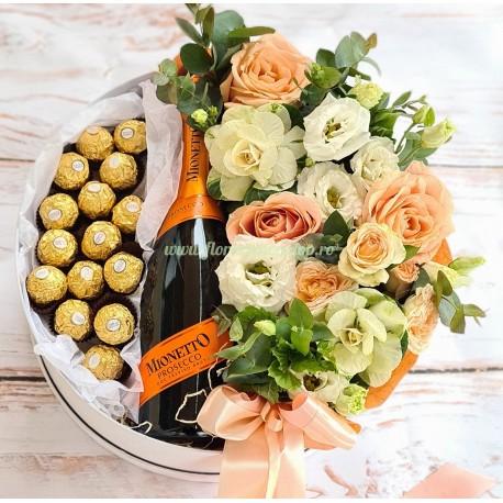Cutie cadou Flori, Prosecco și Ciocolata