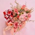 Cutie flori roz inima