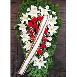 Coroana funerara din crini crizantema garoafe