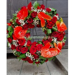 Coroana funerara Cluj flori naturale anthurium