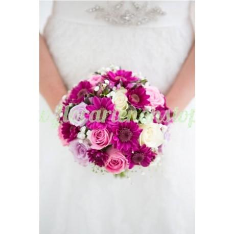 Buchet de mireasa roz pal si mov