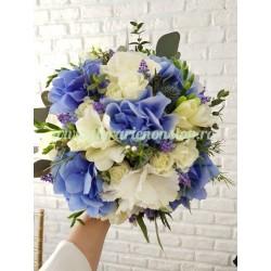 Buchet mireasa hortensie albastra