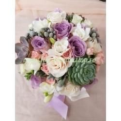 Buchet de mireasa cu flori suculente